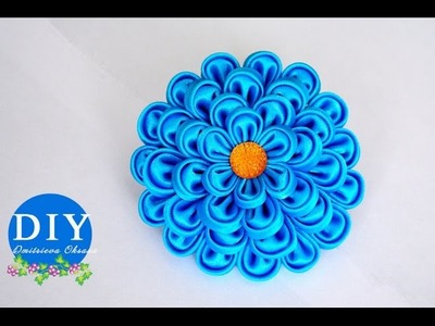 DIY. Kanzashi Flower scrunchy.The Flower from the satin ribbon.The FlowerTutorial
