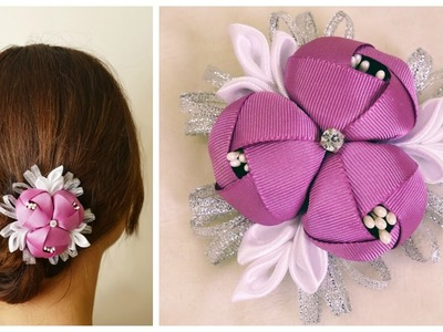 DIY ribbon flower I Kanzashi flower tutorial
