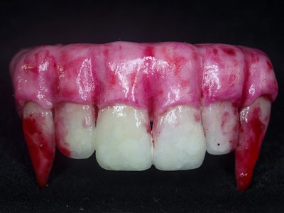 Halloween special: Realistic Vampire Teeth Bracelet from polymer clay
