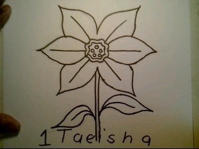 How To Draw A Daffodil flower easy Como dibujar una flor del narcisa