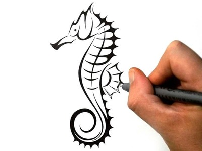 How to Draw a Seahorse - Tribal Tattoo Design Style