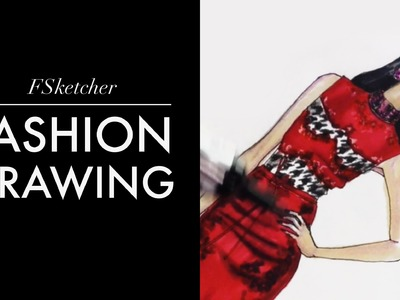 SATIN DRESS. HOUNDSTOOTH PATTERN Ermanno Scervino #2 | Fashion Drawing