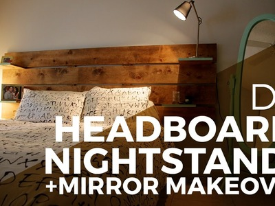 How to make a Headboard. Nightstands + Mirror Makeover  - DIY