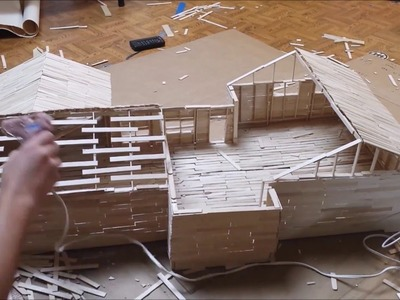 Building popsicle stick house time lapse