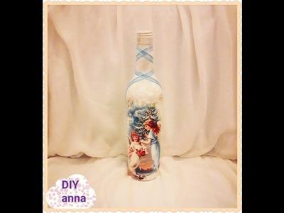 Christmas decoupage bottle DIY shabby chic ideas decorations craft tutorial. URADI SAM