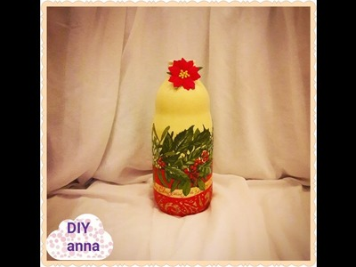 Christmas decoupage bottle with decor foils DIY ideas decorations craft tutorial. URADI SAM