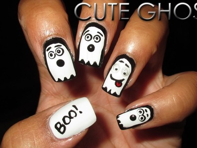 Cute Ghosts | Halloween Mani Swap | Collab with Nailed It NZ | DIY Nail Art Tutorial