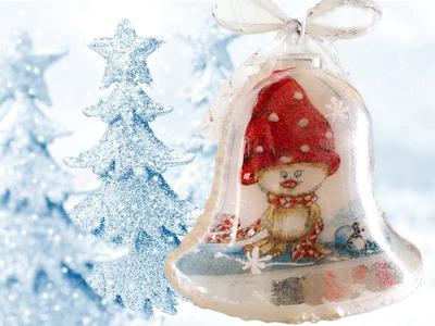 Decoupage Christmas Bell - Ντεκουπάζ Χριστουγεννιάτικη Καμπάνα - Collab with DIY anna