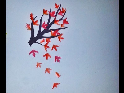 DIY Easy AUTUMN. FALL Tree branch Room Decor (Made with colorful paper)