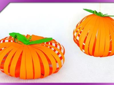 DIY Paper pumpkin, Halloween decoration (ENG Subtitles) - Speed up #269