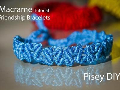 Heart patterned Macrame Tutorial.Friendship Bracelets. DIY