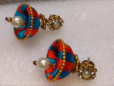 How to make silk thread jhumkas | DIY silk thread earrings, thread hacks, basic silk thread earrings