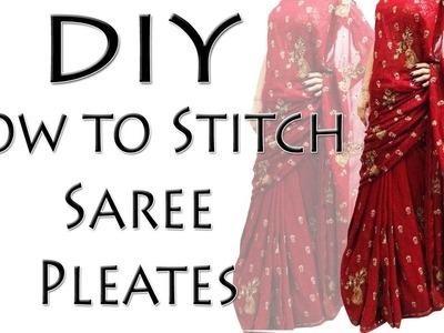How to stitch Saree Pleats - DIY Saree Pleates (Hindi)
