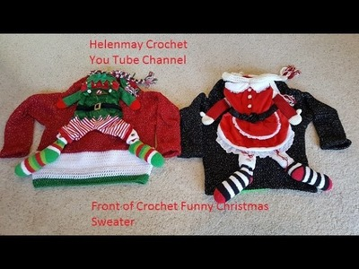 Crochet Funny Christmas Sweater with removable pet outfit DIY Tutorial