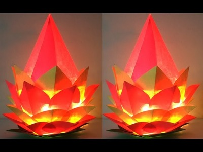 DIY Christmas Crafts : How to Make Amazing Paper Lantern of Lotus Shape | DIY Home Decoration