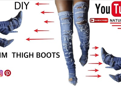 DIY | Denim Thigh Boots | Inspired by Kim K