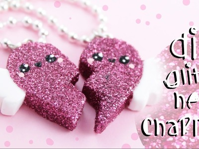 ♡ DIY GLITTER BFF Heart Charms!! - In Polymer Clay ♡ | Kawaii Friday