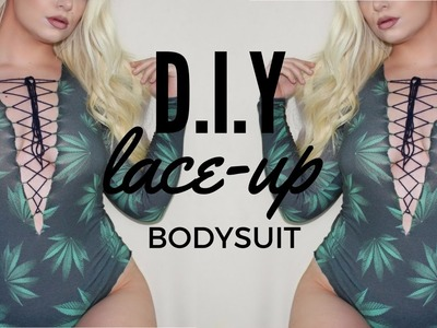 DIY lace up bodysuit from a long sleeved top! | glitzygoddess x