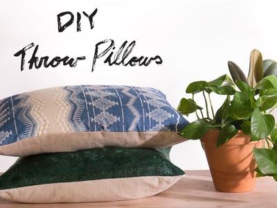 DIY Sew. No Sew Throw Pillows
