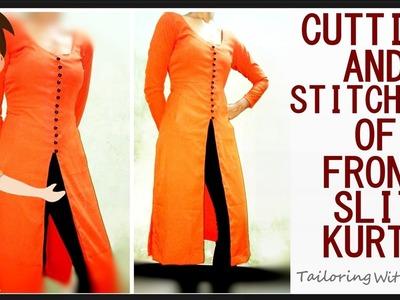How To Make Designer Front Slit Kurti   Cutting & Stitching   DIY - Tailoring With Usha