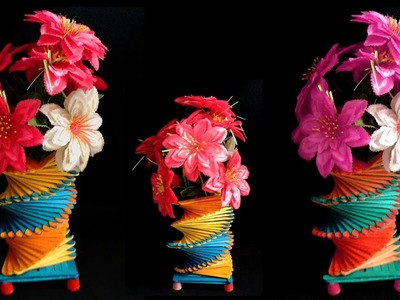 How To Make Popsicle Stick Flower Vase Simple And Easy | Diy Popsicle Stick Crafts