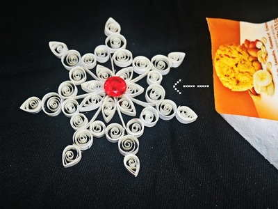 Recycled DIY: How to make Snowflake out of Biscuit Cover - Easy Paper Rangoli - Christmas Decor