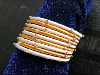 Silk thread bangles in 2 mins DIY- Design#3| Very easy tutorial