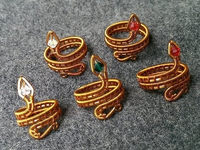 Tutorial wire snake ring - How to make handmade jewelery