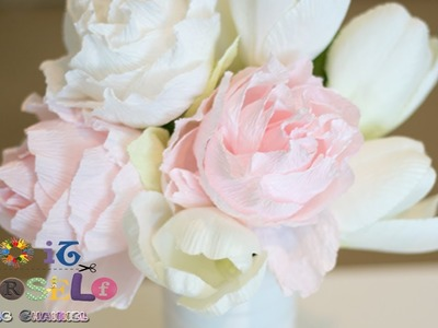 Crepe Paper Flower   How to make  Peony flower Tutorial