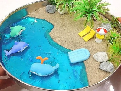 DIY How To Make Kinetic Sand Color Slime Summer Beach Learn Colors Slime Clay Surprise Finger Family