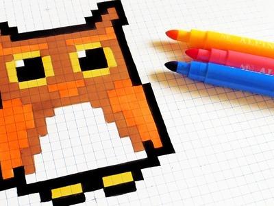 Halloween Pixel Art - How To Draw Kawaii Owl #pixelart