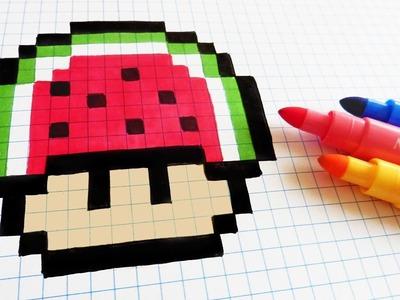 Handmade Pixel Art - How To Draw Watermelon Mushroom #pixelart
