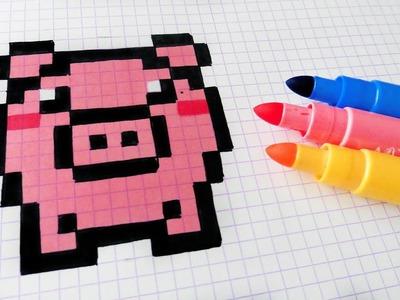 Handmade Pixel Art - How To Draw Kawaii Pig #pixelart