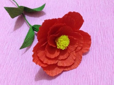 How to Make Camellia Crepe Paper flowers - Flower Making of Crepe Paper - Paper Flower Tutorial