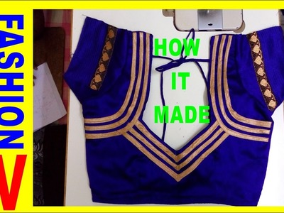 How to make Designer Blouse at Home-19.HOW TO MAKE BACK NECK PIPING