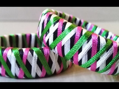 How to make Designer multi colour Jumbled silk thread bangle