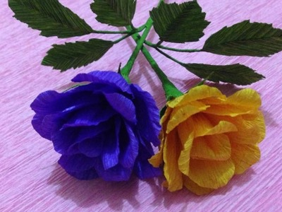 How to Make Rose Crepe Paper flowers - Flower Making of Crepe Paper - Paper Flower Tutorial