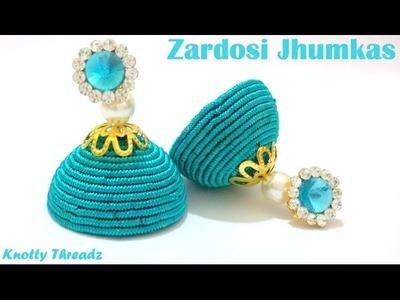 How to make Zardosi Jhumkas at Home | Tutorial !!
