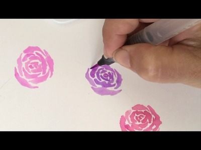 How To Paint a Watercolor Rose Wreath with Le Plume II Markers   Marvy Uchida