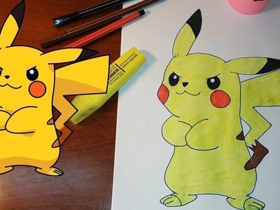 How to Draw Pikachu Step by Step | Pokemon Go - Vẽ và tô màu Pikachu