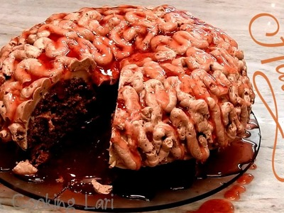How To Make a Walking Dead Brain Cake! Red Velvet Cake - Whats Cooking Lari