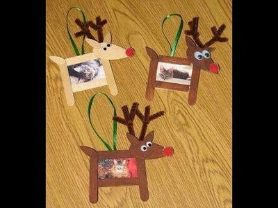 How To Make Reindeer Cork Picture Frame Using Popsicle Stick - Christmas Crafts For Kids
