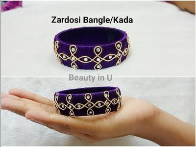 How to make Zardosi Silk Thread Bangle at Home | Tutorial