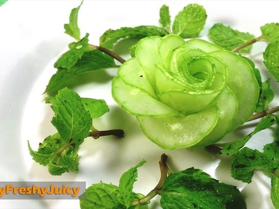 Art In Cucumber Flower Carving & Cutting Garnish - How To Make Cucumber Rose