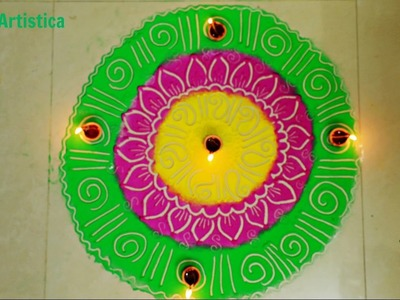Easy Simple Rangoli Design For Beginners|Learn How To Draw Rangoli(Alpana)By MehndiArtistica