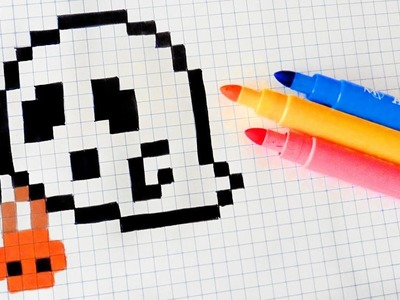 Halloween Pixel Art - How To Draw Halloween Ghost #pixelart