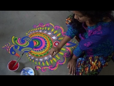 How to draw and paint a very beautiful but easy Peacock Alpana designs- Rangoli desings