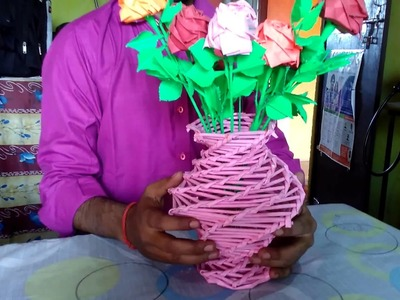 How to make a color flower vase with waste paper for project.