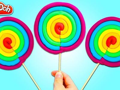 How to Make a GIANT Play Doh Rainbow Lollipop! DIY Play Dough Sweet Treats