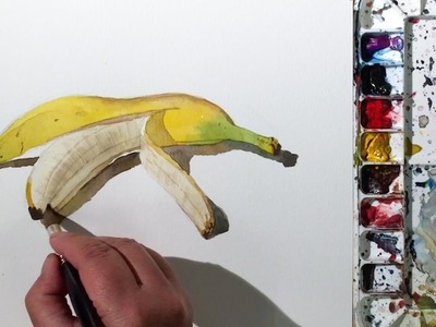 How to Paint a Peeled Banana in Watercolor